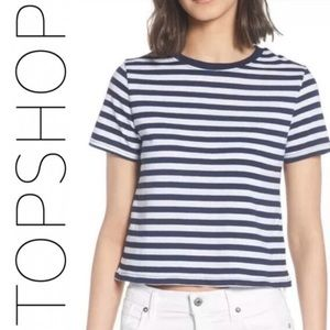 Topshop Round Neck Short Sleeve Navy Striped Tee 8